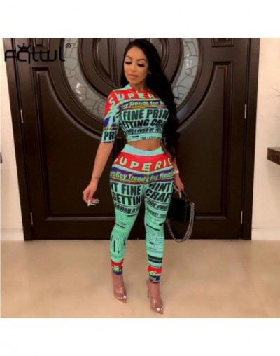 Newspaper Print 2 Piece Set Women Outfits Fitness Sexy Crop Top and High Waist Pants Female Tracksuit Autumn Matching Sets -...