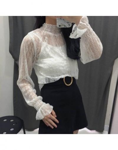 Women's new fashion sexy custom color shirt collar 2pcs transparent lace shirt ladies high quality cute shirt UL10 - UL23 - ...