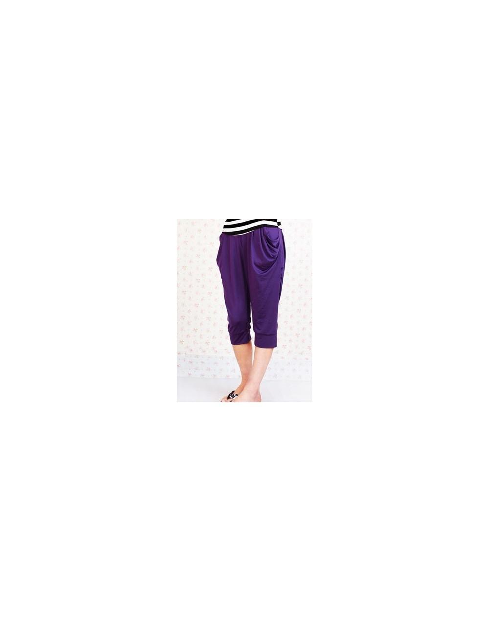 Plus Size Women Capris Casual Harem Pants Candy Color Trousers Female Trousers Knee Length Pants Female Summer Hot Sale - W0...