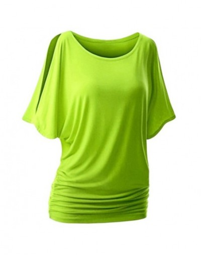 5XL Women Casual Summer T-Shirt Batwing Short Sleeve Loose Top Basic Tee Female Plus Size Basic camisas mujer - Green - 4H30...