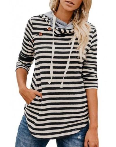 Striped Pattern Patchwork Drawstring Hoodie Sweatshirts Ladies Fashion 2019Autumn Winter Women Casual Ladies Crop Button Hoo...