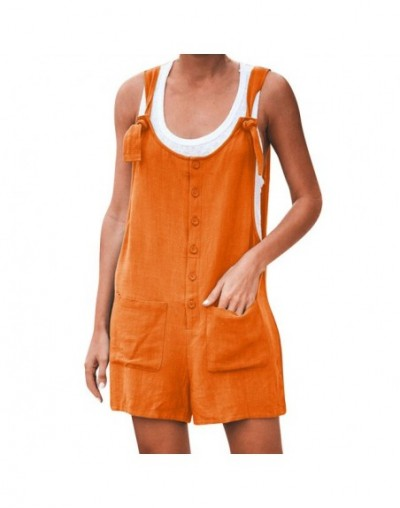 Women Casual Button Pocket Jumsuit Linen Summer Romper Women Fashion Elegant Casual Short Sleeve Jumpsuit Playsuit Beach 419...