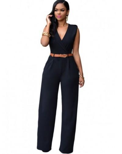 Jumpsuit Long Pants Women Rompers Sleeveless XXL V-neck 2017 Belt Solid Sexy Night Club Elegant Slim Jumpsuits Overalls - bl...