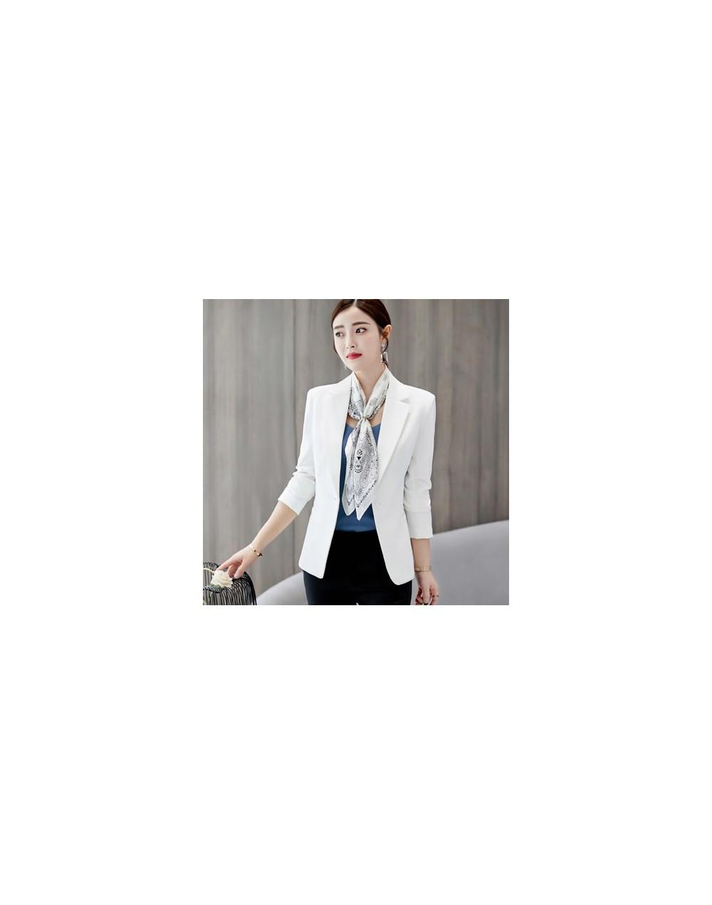 White Black Women Blazers And Jackets 2019 Slim Long Sleeves Office Lady Single Button Short Suit Jacket Female Femenino Bla...