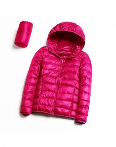 Down jacket women hooded 90% duck down coat Ultra Light warm down jacket large size Female Solid Portable Outwear for winter...