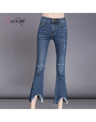 Bries Relate Bell-bottom Women Ankle Length Pencil Denim Jeans Crapped Thin Irregular Jean Split Pants Slim Jeans High Quali...