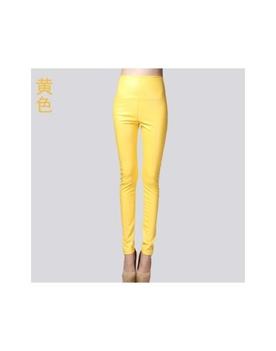 2017 Autumn Winter Women Elastic PU Leather Velvet High Waist Thick Warm leggings Slim Pencil Pants Colorful Trousers Female...