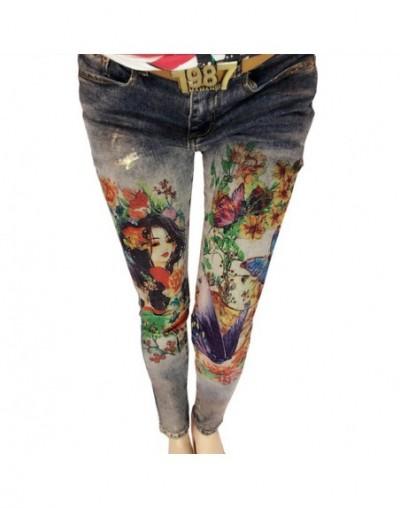 3D Flowers Pattern Painted Woman Elegant Style Denim Pants Trousers 3D Print Painted Pattern Jeans Women's Stretch Skinny Je...