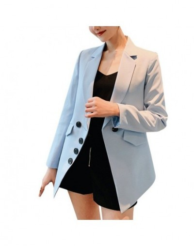 Woman Blazer Jacket Double-breasted Office Work autumn women long sleeves Notched Suit casual Blazer plus size long blazer -...