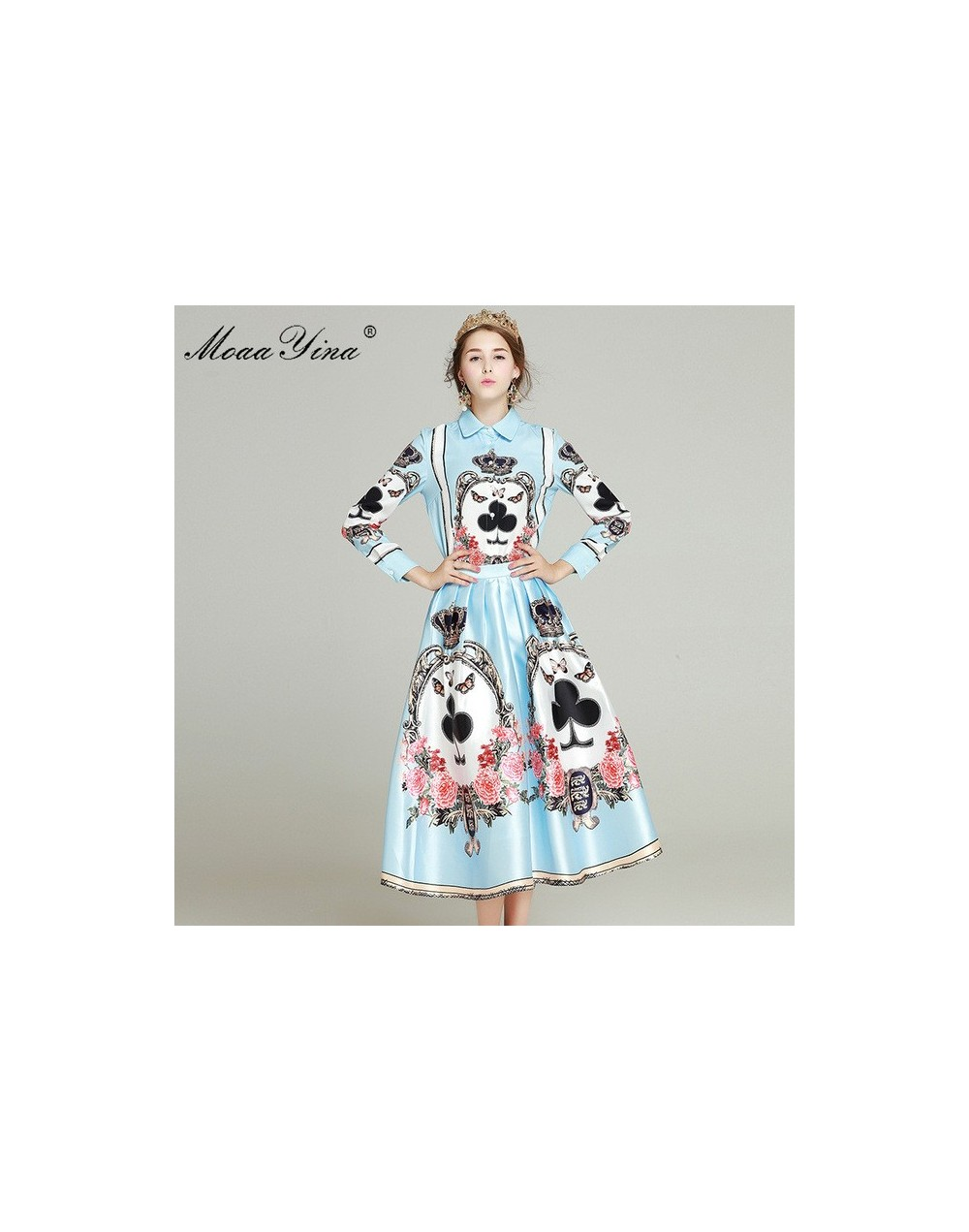 High quality Fashion Runway Set Spring Women Long sleeve Print Lovely Elegant Blouse+ Pleated Half skirt Two-piece suit - Sk...