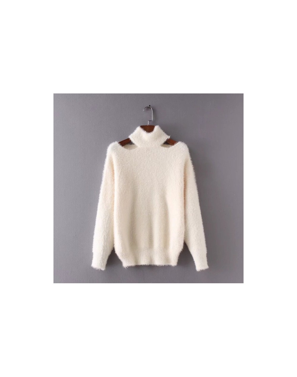 2018 Autumn Winter Fashion Sweaters Korean Fashion Sexy Pullovers Mohair Jumpers Halter Loose Tops 2018 Sexy Fur Sweater - J...