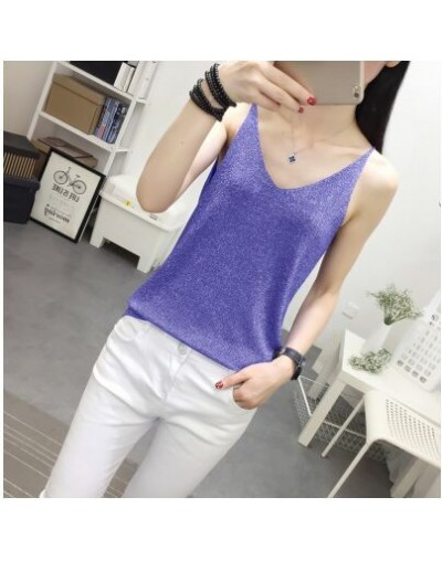 Women's Fashion Slim Knitting Shinning Thin Camis Tops Girl Knitted Solid Tank Tops Sleeveless T shirts Top for Female - Blu...