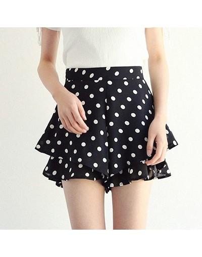 New Korean Dot Print Casual Shorts Women Bohemian Frill Summer Shorts Female 2018 High Waist Loose Wide Leg Short Clothing -...