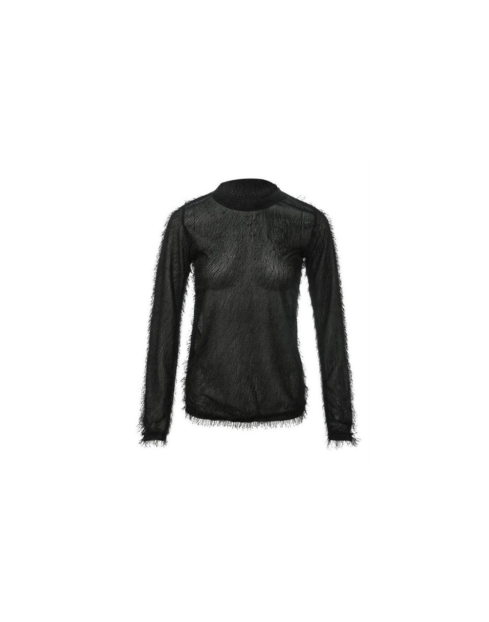 Women Casual Plush Long Sleeve O-neck Tops Spring Autumn Solid Color Sweater Black/White Shirt Loose Pullover Sweaters - Bla...