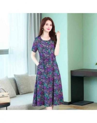 Runway 2019 elegant summer ladies dresses casual print vintage plus size vestidos o-neck floral women clothes long maxi dres...