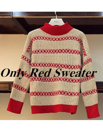 Autumn Winter Knitted Pullover +Plaid Skirt 2pcs Sets Striped Long Sleeve Sweater + Plaid Mini Skirt 2 piece Sets Plus Size ...