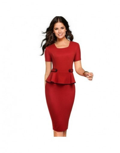 Summer Elegant Solid Color Ruffles Business Dress Wear To Work Casual Square Collar Short Sleeve Bodycon Women Dress EB512 -...
