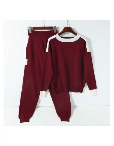 Aautumn Winter Women Knit Pants and Sweater 2pcs Clothes Sets Round Neck Pullovers Color Knit Pocket Pants Sets - light khak...