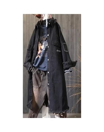 Long Coat woman Autumn Retro Vintage Hole Embroidery Loose Long Jacket Female Patchwork Fashion Denim Coat for woman A0fz20 ...