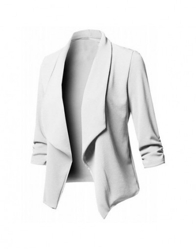Vintage Cardigan Blazer Women Solid Color Open Front Cardigan Long Sleeve Blazer Casual Jacket Coat Office lady clothes - Wh...
