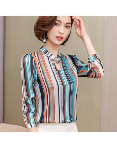 2019 fashion print chiffon blouse women shirt long sleeve plus size women tops stripe OL blouse women's clothing blusas 0092...