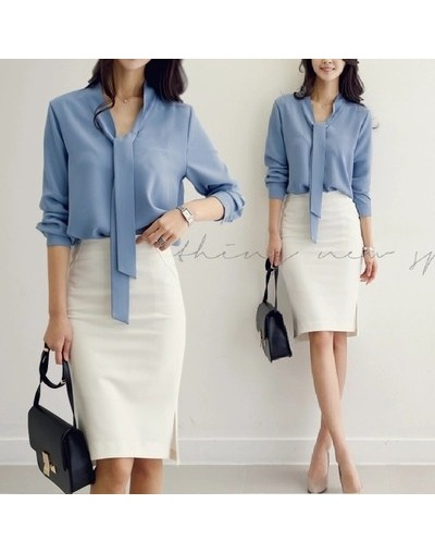 Spring Women Clothing Long-sleeved 2017 New Bow Tie Blusas Korean Loose Chiffon Shirt Women's Blouse 699C 30 - blue - 443911...