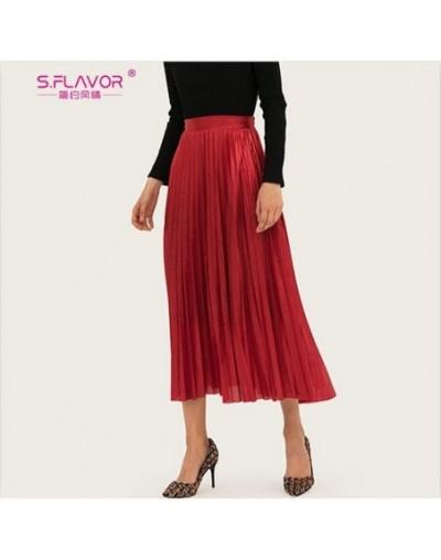 Autumn WInter 2019 New Women Metallic Pleated Skirt Midi High Waist Elascity Skirt Casual A line Party Saia - red - 5R111149...