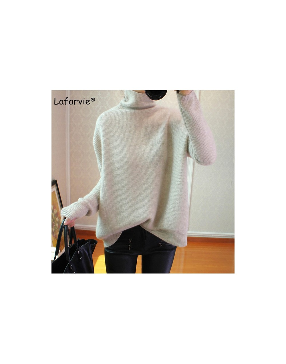 Cashmere Blended Turtleneck Knitted Sweater Women Autumn Winter Long Sleeve Casual Loose Thick Warm Pullover Female - beige ...