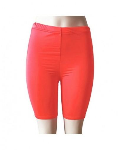 shorts women Fashion women's shorts Solid High Elasticity Gym Active Cycling high waist Shorts - Watermelon - 434127414307-5