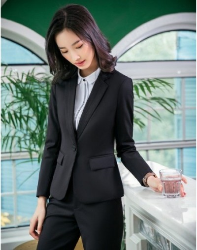 High Quality Fiber Formal Office Ladies Navy blue Blazers Women Outerwear Jackets Female Work Wear Clothes - Black - 4S30278...