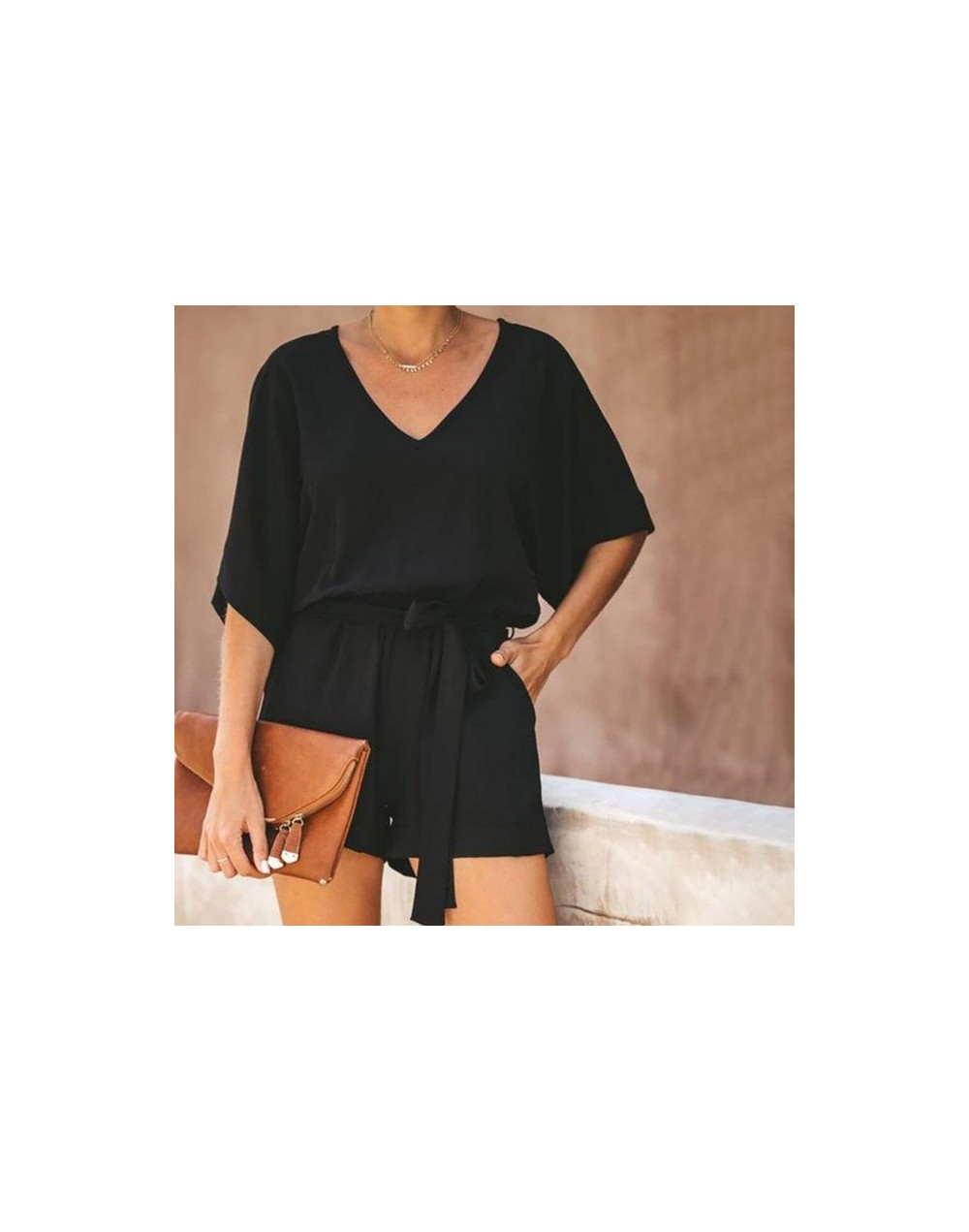 Women Fashion Jumpsuit Sexy Lace Up V-Neck Rompers Casual Playsuit Chiffon Short Sleeve Bodysuit - Black - 4000077060567