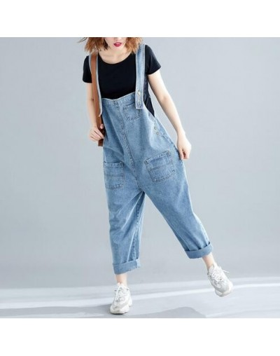 Big Size Loose Denim Rompers Womens Jumpsuit 2019 Summer Casual Streetwear Suspender Jeans Pants Overalls Female Gray Blue -...