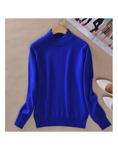 High-quality Cashmere Sweaters Women Fashion Autumn Winter Female Soft and Comfortable Warm Slim Cashmere Pullovers - blue -...