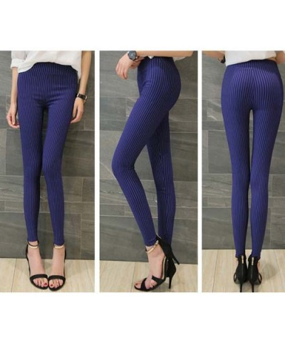 Women Plus Size High Waisted Trousers Skinny Pants Trousers Elastic Pencil Pants High Waist Pants - stripe-Blue - 4A30799254...