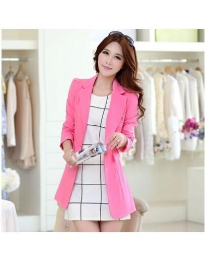 2019 Women Long Blazer New Fashion Solid Casual Plus Size Coat Blazer NS3858 - pink - 4F3903257633-5