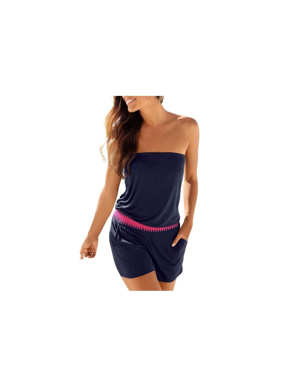 Women Playsuits Shorts Sleeveless Solid Summer Overalls Rompers Pockets Femme Beachwear Girl Short Jumpsuit Off Shoulder Leo...