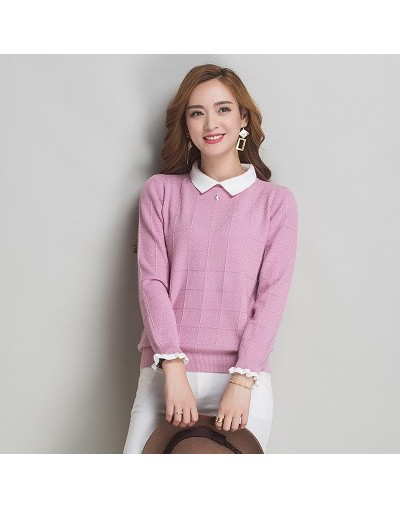 woman sweater 2017 spring long-sleeve sweater large size lady clothing fashion basic pull femme Cashmere sweater - Pink - 4Z...