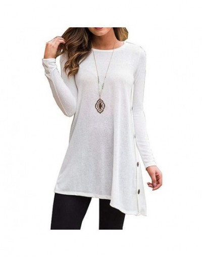 Dress Female Women's Long Sleeve Round Neck Button Side T Shirts Tunic Dress Short Dress Mini Casual Winter Dresses 2019 - W...