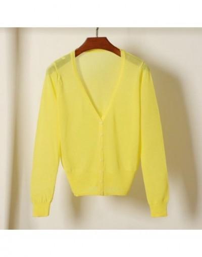 Short Cardigan Coat Summer Spring Women's V Neck Ice Silk Thin Coats Pink White Black Yellow Green Red Blue - bright yellow ...