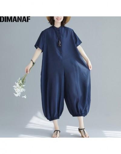 Plus Size Women Jumpsuits Long Pants Summer Big Size Trousers Cotton Female Clothes Loose Casual Vintage Striped 2019 - 4L41...