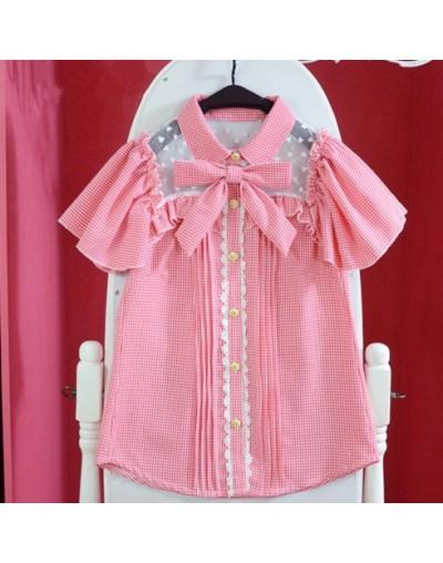 Summer Women Bow tie Lolita plaid Blouse Heart Lace Collar Butterfly Sleeve Japanese Cute Kawaii Junior's Mori Girls Shirts ...