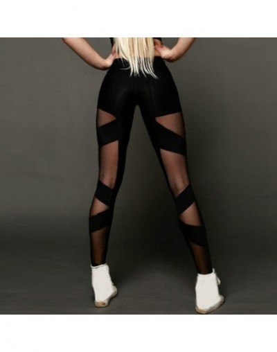 Leggings For Women Fashion High Elasticity Fishnet Spliced Grenadine Push Up Leggings Active Pants Leginsy Damskie YY - Blac...