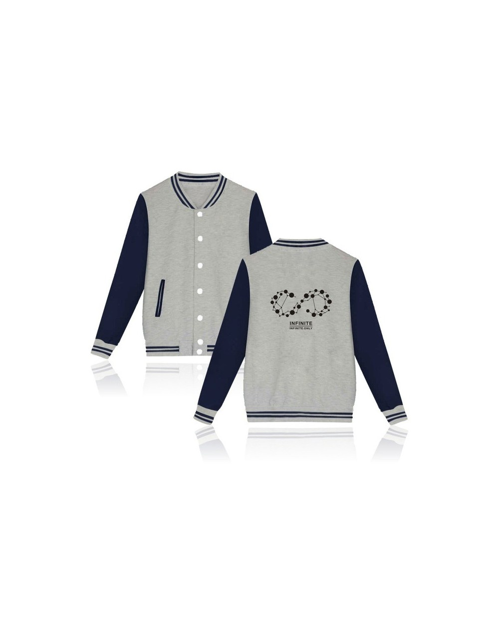 Kpop Infinite Baseball Uniform Women Men Fashion 5th Album Fans Supportive Hoodies Long Sleeve Loose Women Crewneck - Gray -...
