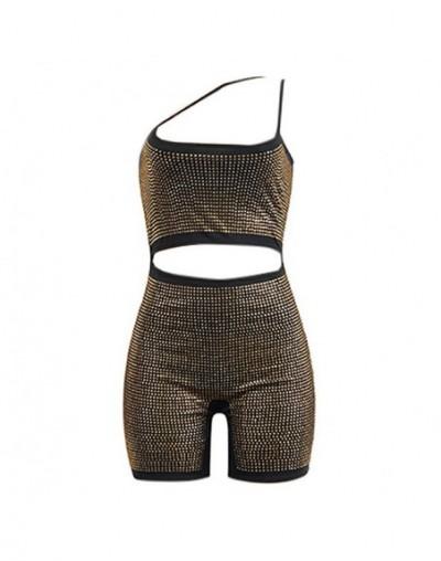 Sexy Women Bodycon Glitter Rhinestones Playsuit Spaghetti Strap Front Cutout Back Zipper Clubwear Fashion Short Jumpsuit Rom...