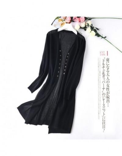 Women Silk Shirt Knit Long Cardigan Summer Thin Section Office Lady Shirt Tops Sunscreen Shirt Outside Air Conditioning Shir...