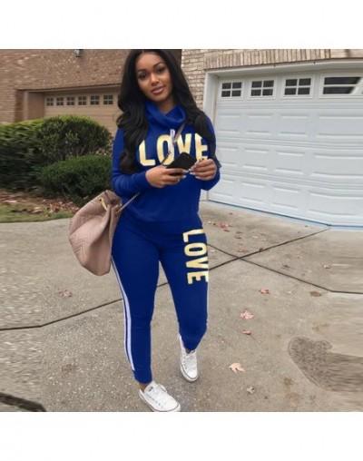 Plus Size 2 Piece Set Women Black Outfit LOVE Letter Print High Neck Hoodies Sweatshirt Pants Tracksuit Streetwear Casual Su...