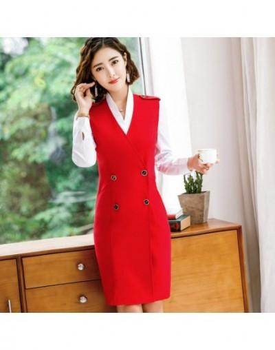 Women Autumn Vest Dress Suits Female Elegant Full Sleeve Shirt 2 Pieces Suits With Formal Office Work Tunics Pencil Dress 4X...
