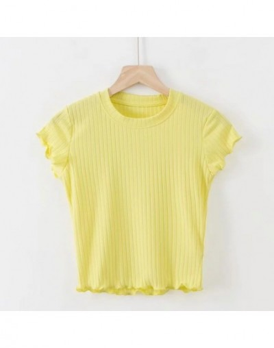 Women Ribbed Fit Crop Tee with Cap Sleeve Frill Trimmed Crop T-shirt - yellow - 464133813814-3