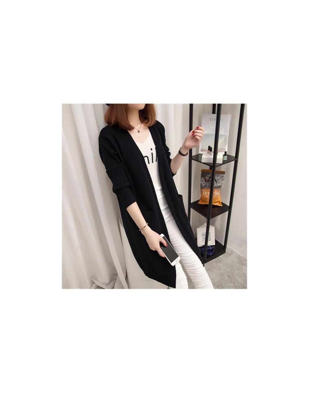 New Women Spring/Autumn Sweater Long Cardigan Jacket Korean Slim Pocket Loose Pull Knit Sweater Outwear Coat Casual Female T...