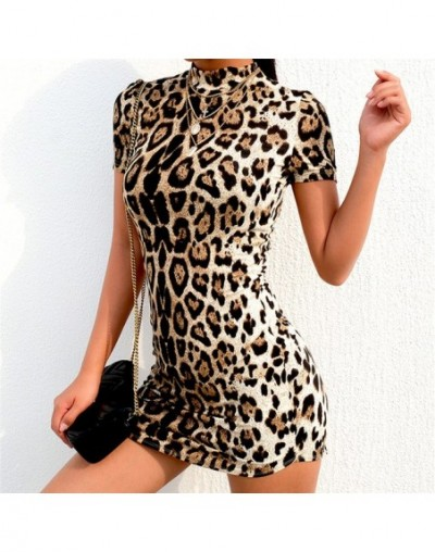 New Elegant Women's Bodycon Slim Pencil Dress snake skin dress 2019 autumn women sexy Leopard High Neck party mini dresses -...